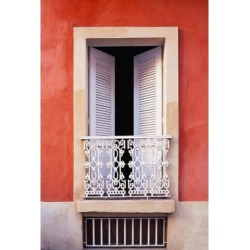 Posterazzi PDDCA27THA0000 White Shutters Old San Juan Puerto Rico Poster Print by Tom Haseltine - 18 x 26 in.