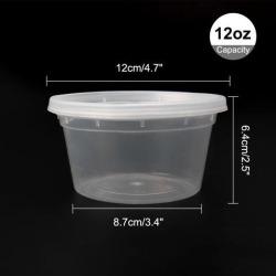 24pcs 12oz Plastic Food Storage Meal Prep Soup Containers Box with Lids Leak Resistant Stackable Reusable Microwave Freezer Safe