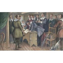 Posterazzi SAL900600002 Signing the Compact on the Mayflower Cpyrt 1895 J. Steeple Davis 1844-1917 American Poster Print - 18 x 24 in.
