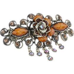 Vintage Flower Design Rhinestone Hair Clip Hairpin Hair Accessories Coffee