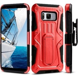 Shockproof Rugged Armor Hybrid Hard Full-Body Case Cover Stand Belt Clip Holster Black/ Red for Samsung Galaxy S8 Plus