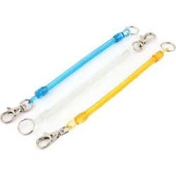 Unique Bargains 3Pcs Lobster Clasp Stretchy Spring Coil Keychain Key Holder Orange Blue Clear