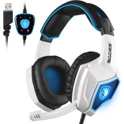 SADES Spirit Wolf 7.1 Surround Sound Stereo USB Gaming Headset Headband Headphones with Mic Over-the-Ear Noise Isolating Volume Control LED Light.
