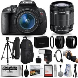 Canon EOS Rebel T5i 18.0 MP CMOS DSLR Digital Camera + EF-S 18-55mm IS STM Lens + Tripod+ 32GB SD Card + Card Reader + Extra Battery + Case Bag +.