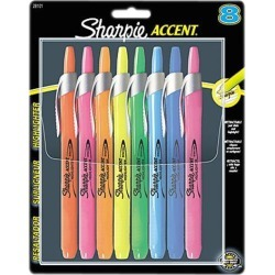 Sanford 28101 Sharpie Accent Retractable Highlighter Chisel Marker Point Style - Assorted Ink - Assorted Barrel - 8 / Set, 1 Set