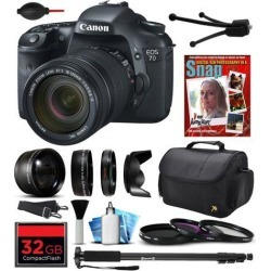 Canon EOS 7D Digital SLR Camera with EF-S 18-135mm IS Lens, 32GB SD Card, 72' Monopod, 2.2x Telephoto Lens, Air Cleaner Blower, Carrying Case.