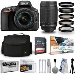 Nikon D5500 24MP DSLR Digital Camera AF-P 18-55mm + NIKKOR Lens 70-300mm + High Definition Professional 5 Piece Filter Kit + 32GB Memory SD Card.