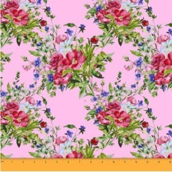 Soimoi Floral Printed Sewing Material 58 Inches Wide Cotton Voile Fabric Supplies By The Meter-Pink