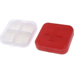 2 Pcs 4-Section Square Red White Plastic Capsules Pill Case Box Containers