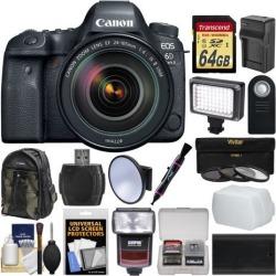 Canon EOS 6D Mark II Wi-Fi Digital SLR Camera & EF 24-105mm f/4L IS II USM Lens with 64GB Card + Backpack + Flash + Video Light + 3 Filters Kit