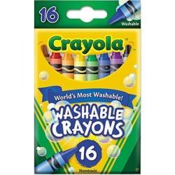Crayola Washable Crayons, Regular, 8 Colors, 16/Box