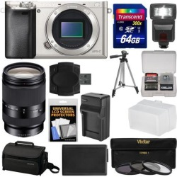 Sony Alpha A6000 Wi-Fi Digital Camera Body (Silver) with 18-200mm LE Zoom Lens + 64GB Card + Case + Flash + Battery/Charger + Tripod Kit