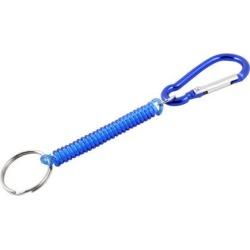 Unique Bargains Carabiner Hook Blue Spring Elastic Plastic Coil Keyring Keychain Strap Rope 5.1'