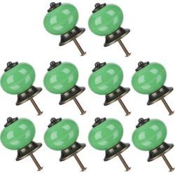 10pcs Ceramic Knobs Drawer Knob Round Pull Handle Home Door Replacement Cupboard Wardrobe Dresser Decoration Green