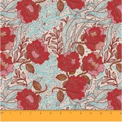Soimoi 58 Inches Wide Decorative Floral Print Dressmaking Cotton Fabric For Sewing By The Meter 60 GSM - Red