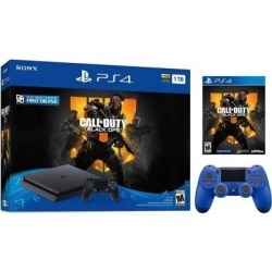 Playstation 4 Slim 1TB Jet Black Call of Duty Black Ops 4 Bundle With an Extra Wave Blue DualShock 4 Wireless Controller