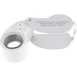 40X Teardrop Shape Folding Jewelry Repair Loupe LED Magnifying Glass Silver Tone