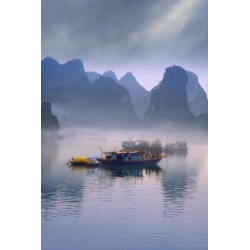 Posterazzi DPI1795457 Junks On Halong Bay Poster Print by Carson Ganci, 11 x 17