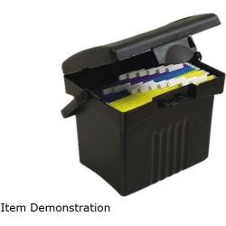 Storex 61502U01C Portable Storage Box, Letter Size, 14w x 11-1/4d x 14-1/2h, Black