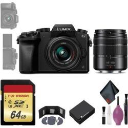 Panasonic Lumix DMC-G7 Mirrorless Micro Four Thirds Digital Camera w/ 14-42mm & 45-150mm Lenses (Black) - 64GB - Memory Card Wallet - Reader - Battery