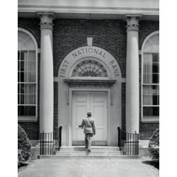 Posterazzi SAL2554355B Rear View of a Man Entering a Bank Poster Print - 18 x 24 in.