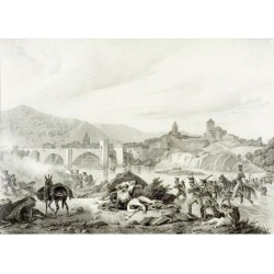 Posterazzi DPI1858938 French Troops Attack Bezalu Girona Spain During The Napoleonic Wars In 1808 19th Century Lithograph by Engelmann After 1.