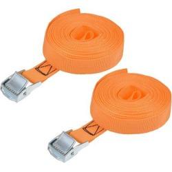 5.5M x 25mm Lashing Strap Cargo Tie Down Straps w Cam Lock Buckle 250Kg Work Load, Orange, 2Pcs