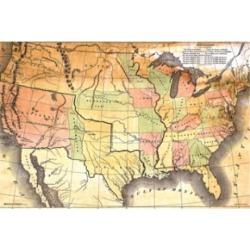 Posterazzi SCO10405 Antique USA Map Poster Print - 24 x 36 in.