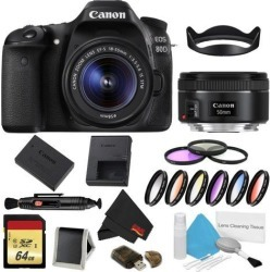 Canon EOS 80D DSLR Camera with 18-55mm Lens Bundle w/ 9 Piece Filter & Memory Kit + 50mm Lens (Intl Model)