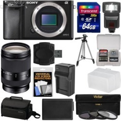 Sony Alpha A6000 Wi-Fi Digital Camera Body (Black) with 18-200mm LE Zoom Lens + 64GB Card + Case + Flash + Battery/Charger + Tripod Kit