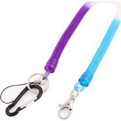Carabiner Hook Spring Stretchy Coil Keyring Key Chain Cord w Lobster Clasp