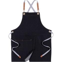 Denim Apron Adjustable Jean Kitchen Apron with Pocket Denim Black