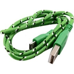 Braided Cord USB 2.0 A Male to Micro B Charger Data Cable Wire Green 3.3Ft Nylon