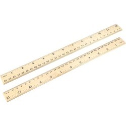 Wood Ruler 30cm 12 Inch Double Scale Measuring Tool for Office 12pcs