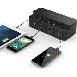 ChargeTech Power Strip Charging Station for Desktop, (6) Retractable Cables, (2) USB Ports, (2) AC Outlets (CS8)