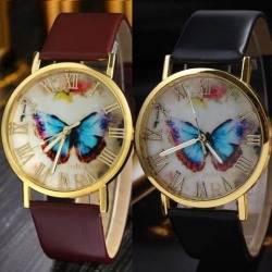 Women Quartz Wrist Watch Roman Numerals Fashionable Butterfly Dial Faux Leather Watch white