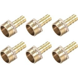 Brass Barb Hose Fitting Connector Adapter 10mm Barbed X G1/2 Male Pipe 6pcs