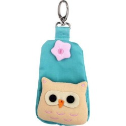 Lobster Clasp Zip Up Cloth Owl Head Decor Key Coin Holder Bag Purse Wallet Green