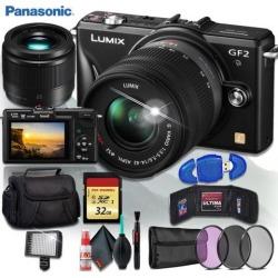 Panasonic Lumix G DMC-GF2K Digital Camera (BODY ONLY) + Panasonic Lumix G 25mm f/1.7 ASPH. Lens + 32gb Memory Kit + 160 LED Video Light + Camera Case