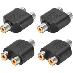 RCA Female to 2 RCA Female Connector Stereo Audio Video Cable Adapter Splitter 4Pcs