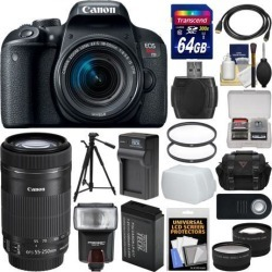 Canon EOS Rebel T7i Digital SLR Camera & EF-S 18-55mm + 55-250mm IS STM Lens + 64GB Card + Case + Flash + Battery & Charger + Tripod + 2 Lens Kit