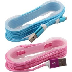 Mobile Phone USB 2.0 Type A to Micro-B Charger Data Cable Blue Pink 2pcs