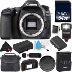 Canon EOS 80D DSLR Camera (Body Only) 1263C004 (International Version) + 64GB SDXC Class 10 Memory Card + LP-E17 Replacement Lithium Ion Battery +