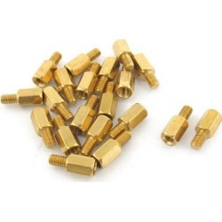 20pcs M3 Male to Female 7mm+5mm Screw Threaded Brass Hexagon Standoff Spacer