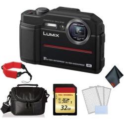 Panasonic Lumix Waterproof Digital Camera (Black)- Bundle with 32 GB Memory card + Floating Wrist Strap + LCD Screen Protectors and MORE