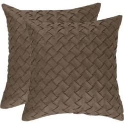 Throw Pillow Cover Stylish Basket Weave Pattern Soft Solid Decorative Pillow Case Home Decor Design Cushion Cover for Sofa Bedroom Car, Coffee.