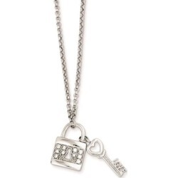 Sterling Silver Love Key w/ Hanging Lock & CZ Necklace
