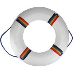 21' White and Vibrantly Colored Swimming Pool Summer Safety Ring Buoy