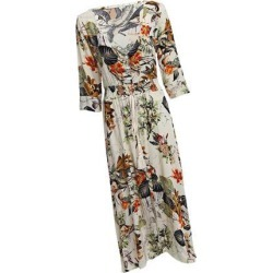 Women Floral V Plunge Ladies Maxi Wrap Holiday Summer Beach Dress M Beige