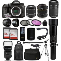 Canon EOS 7D Mark II DSLR Camera with EF-S 18-55mm and 55-250mm Lens, 2x 64GB SD Card, 72' Monopod, X-GRIP Action Stabilizing Handle, XIT Pro Sling.